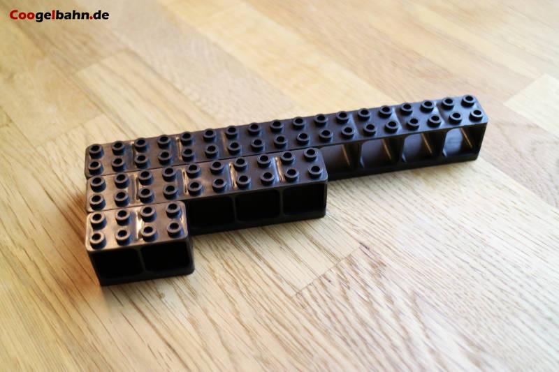 Auch die horizontalen Bausteine sind in drei Längen verfügbar